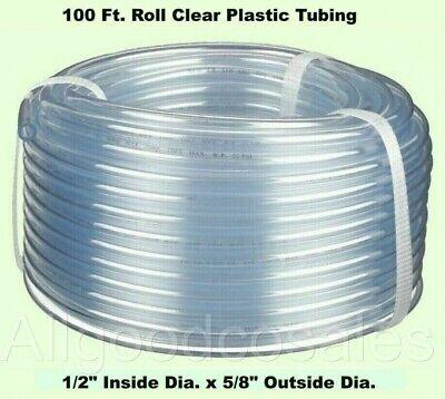 Clear Plastic Tubing 100 Roll 12 Inside Dia. X 58 Outside Dia Flexible
