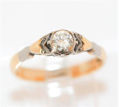 Antique Art Deco 18k Gold .15ct Diamond Solitaire Engagement Ring Sz 4.75