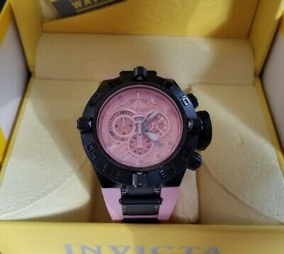 Invicta Subaqua Noma IV 4 Swiss Made Black Pink Silicone Reserve Mens Watch11806