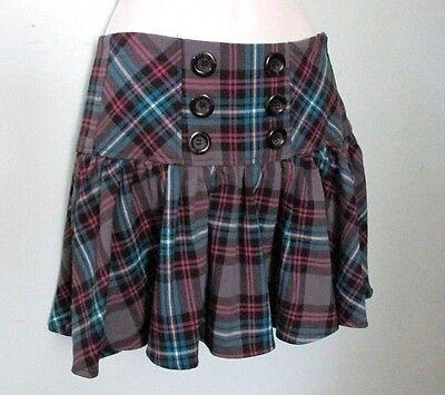 Candie's School Girl Plaid Mini Skirt Button Front, Corset Lace Up Back,  Sz 5