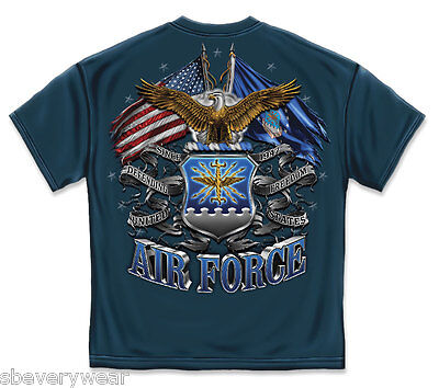 US AIR FORCE FLAG BALD EAGLE T SHIRT MILITARY USAF AMERICAN FLAG MENS TEE S-3XL  ()