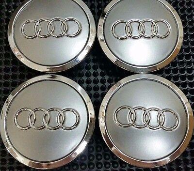 4 Pcs Audi Gray Chrome Logo Center Wheel Hub Cap 70mm A3 A4 A5 A6 S4