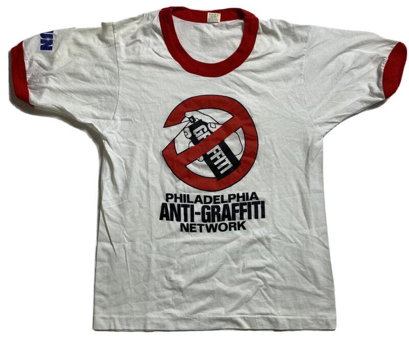 RARE Vintage Philadelphia Anti-Graffiti Network Sun 1980's Ringer Shirt Medium