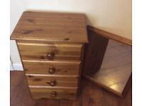 PINE BEDSIDE DRAWER AND MIRROR
