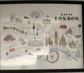 BARGAIN BEAUTIFUL LONDON MAP Framed Print 43 x 53 cm