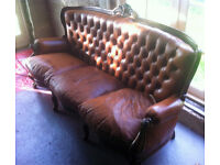 Louis XV Tan Leather Chesterfield 3 seater Sofa