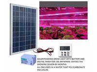 Led grow lighting setup. Fully automatic and solar powered