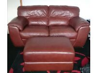 Brown real 3 and 2 leather sofa with stool