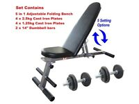 Weight Bench + 30kg Dumbbell Set NEW