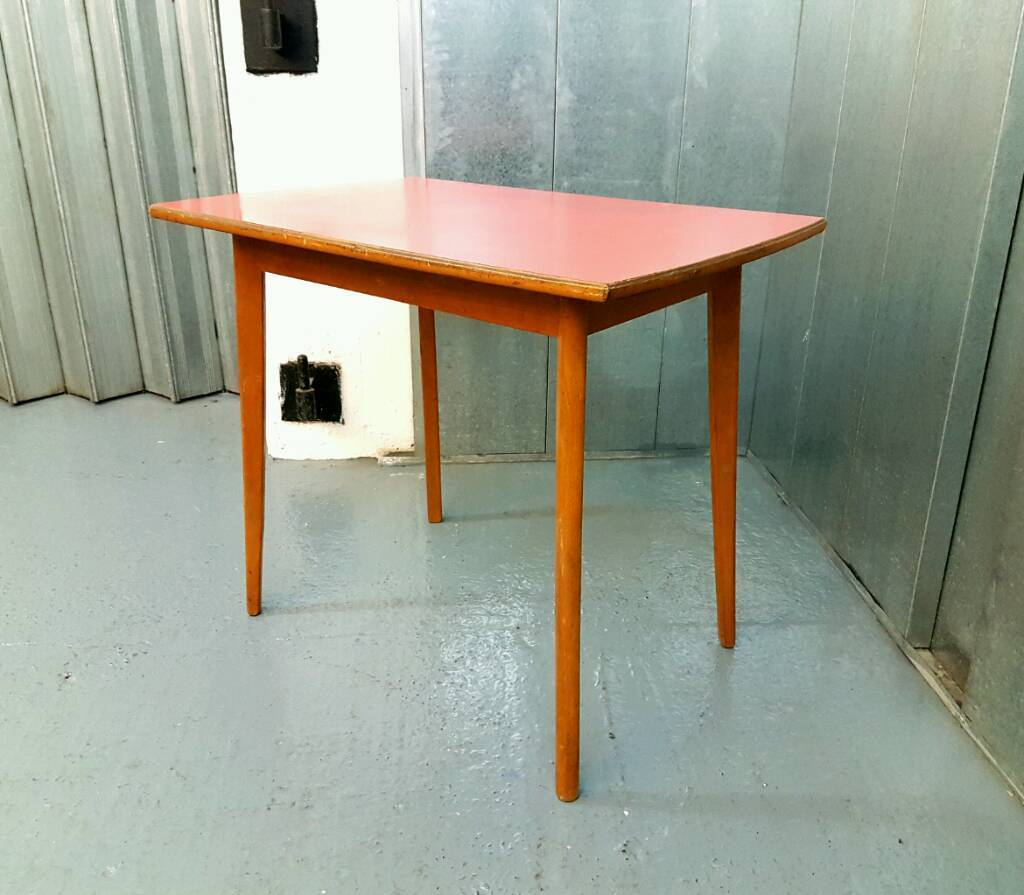 Round Formica Kitchen Table Vintage Mid Century Modern 1960s Formica Faux Wood Kitchen Table