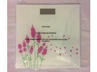 Modern Digital LCD Weighing Scale 150 Kg Pink Flowers NEW