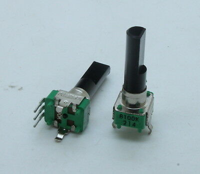 2 X 9mm Alpha B100k 100k Linear Taper Potentiometer 23mm Shaft W. Center Detent