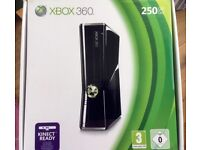 Xbox 360 S Slim 250 GB Console Black + 60 Video Games + Official Wireless Controller Bundle Like New