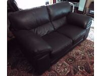 Dark Brown Leather Two-Seater Sofa