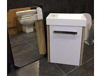 Bathroom Cloakroom Unit & Mirror NEW
