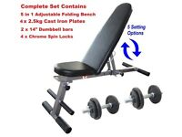 Weight Bench + 20kg Dumbbell Set NEW