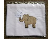 Brand NEW Cotton toddler cot pillowcase elephant embroidered.33x40cm. Nocturnal Affair. SAfrica.
