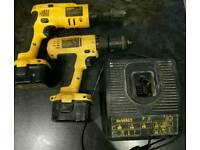 Dewalt 12v drill, plasterboard screwdrill, 2 batteries and fast charger