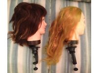 2 used mannequin heads with table clamp attachment, for vintage fairs fleamarket