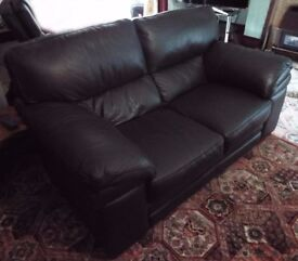 Brown Leather Two-Seater Sofa in Excellent Condition
