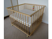 Multi use wooden play pen and baby day bed with adjustable floor and soft mattress