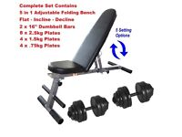 Weight Bench + 30kg Dumbbell Set Brand New