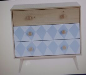ELLA CHEST OF DRAWERS , BLUE AND PINE - MADE