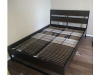 IKEA TRYSIL double bed with LEIRSUND slated base and bedside table and mattress