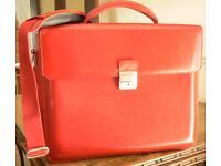 Designer Handmade Red Leather Briefcase