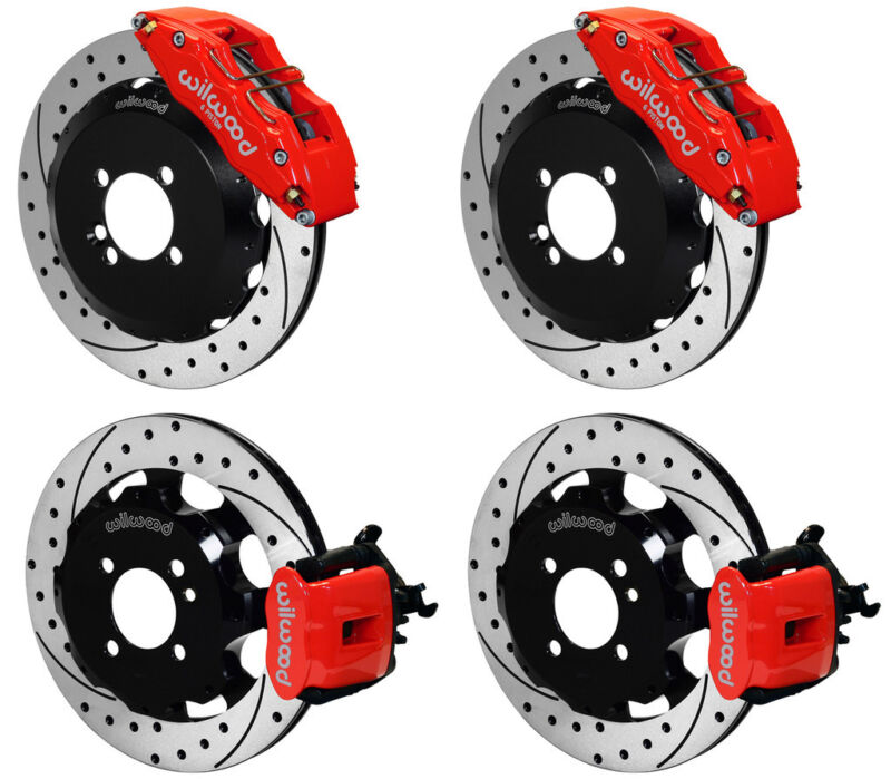 "WILWOOD DISC BRAKE KIT,MINI-COOPER,13""/11.75"" DRILLED ROTORS,RED CALIPERS"