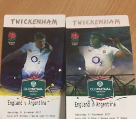 2 x England Vs Argentina Rugby Tickets (11.11.17) - Great Seats in West Lower