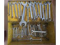 Spanners and metal toolbox