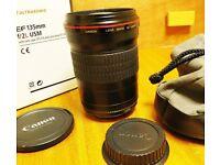 Canon camera lens, EF, 135mm. F2, L