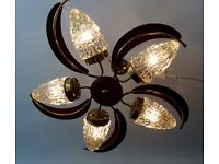 Set of Mid Century Cut Glass And Brass 70's Lights