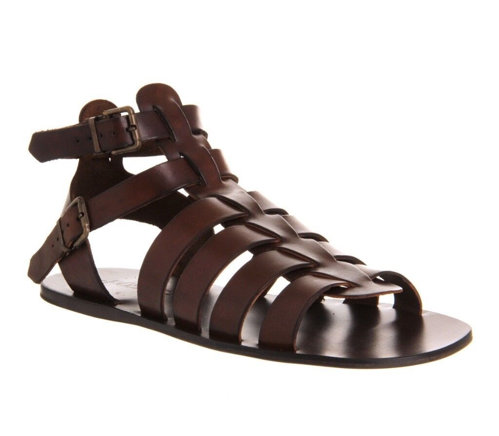 4e6dbb93a60 Poste Spiculus Gladiator Sandals Brown Leather - BRAND NEW. MENS UK Size 10