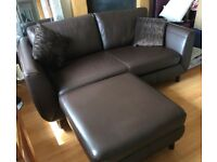 Leather Settee Brown