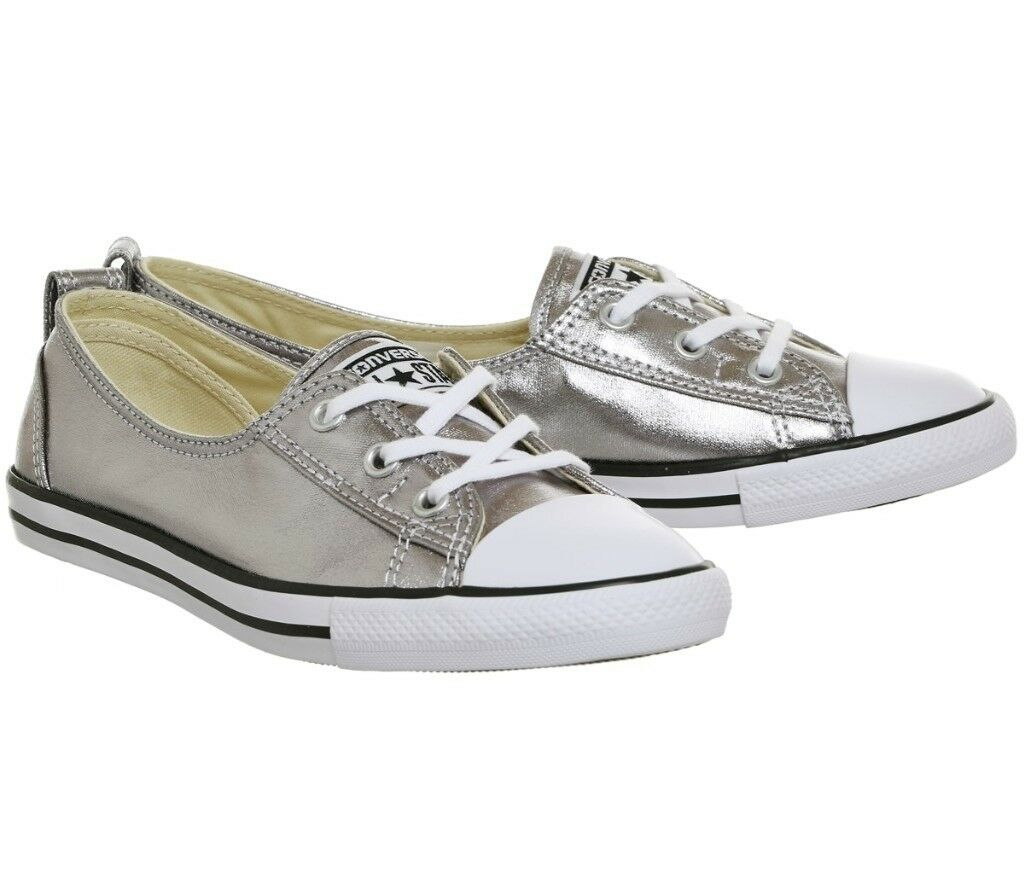 Converse ballet lace pumps size 5/38 silver metallic
