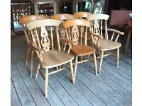 Set Of Six Pine Dining Chairs
