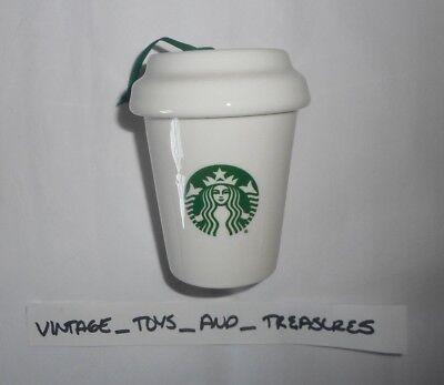 Groß Starbucks Kaffee Keramik 2016 Weihnachtsbaum Ornament Weiß & Grün Becher