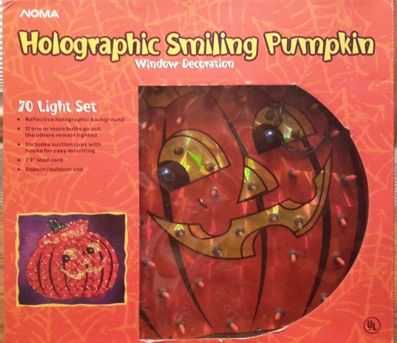 Noma 15 inch 70 light holographic smiling pumpkin NIB
