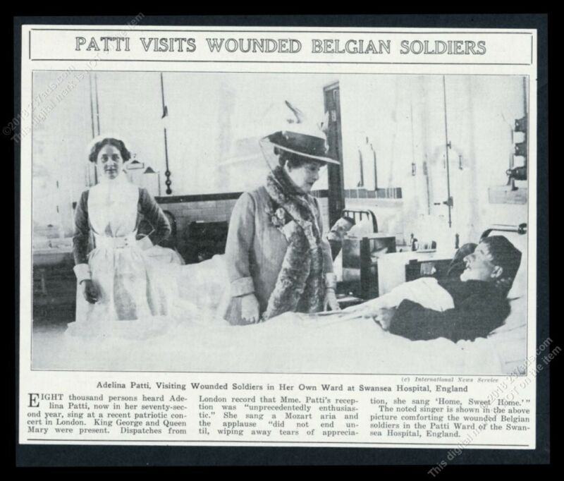 1914 Adelina Patti opera star photo visiting WWII soldiers vintage print article
