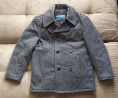 KENNETH COLE REACTION CHARCOAL GREY WOOL MELTON PEACOAT DOUBLE BREASTED SMALL Double Breasted Melton Peacoat
