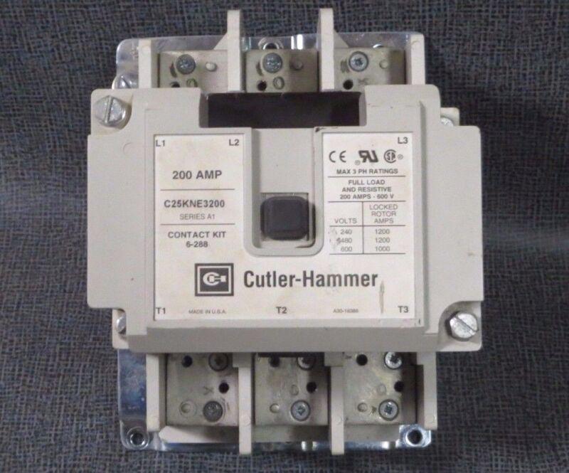 CUTLER HAMMER CONTACTOR 200 AMP 600 V 3 POLE WITH 480V COIL  MODEL: C25KNE3200