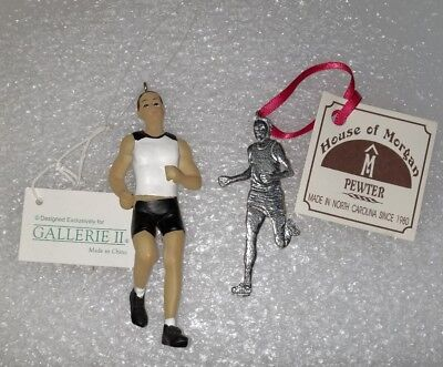 GALLERIE II HAND PAINTED RESIN and pewter male Runner CHRISTMAS ORNAMENT   Painted Pewter Ornament