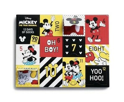 Mickey Mouse 12 Days of Socks 90th Anniversary Womens Christmas Advent Calendar