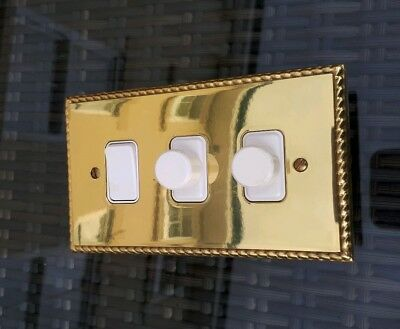 MK Solid Brass Georgian Rope Edge Double Dimmer With Single Switch