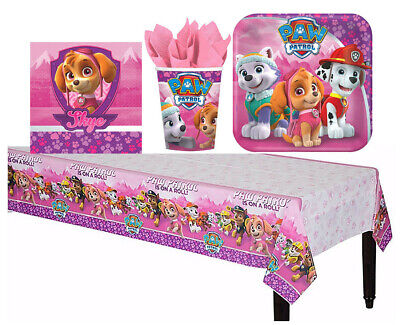Pink PAW Patrol Girl Tableware Birthday Party Supply Cup Plates Table cover 33pc