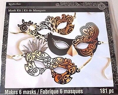 Recollections MIDNIGHT MAGIC Black/Gold HALLOWEEN MASK KIT - Makes 6 Masks