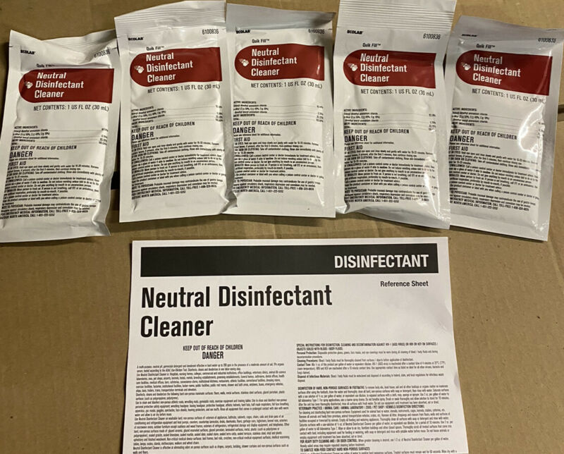 Ecolab Neutral Disinfectant Industrial Cleaner 5/1 oz PACKS MAKES 20 GALLONS