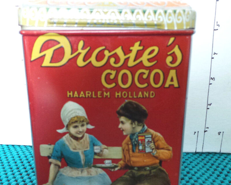 Tin, Decorative, Droste's Cocoa, 1 Lb.Size, Collectible, Older, Made in Holland